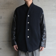 the Sakaki「 stadium jumper (cow leather) / Black×Black 」