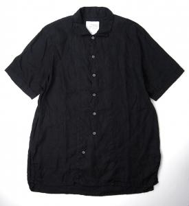 AUGUSTE-PRESENTATION「 リネン半袖レギュラーカラーシャツ / BLACK 」