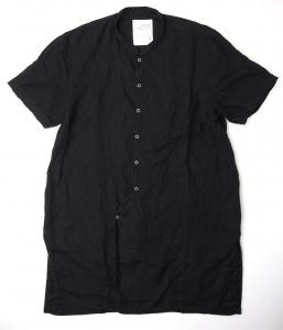 AUGUSTE-PRESENTATION「 リネン半袖スタンドカラーシャツ / BLACK 」