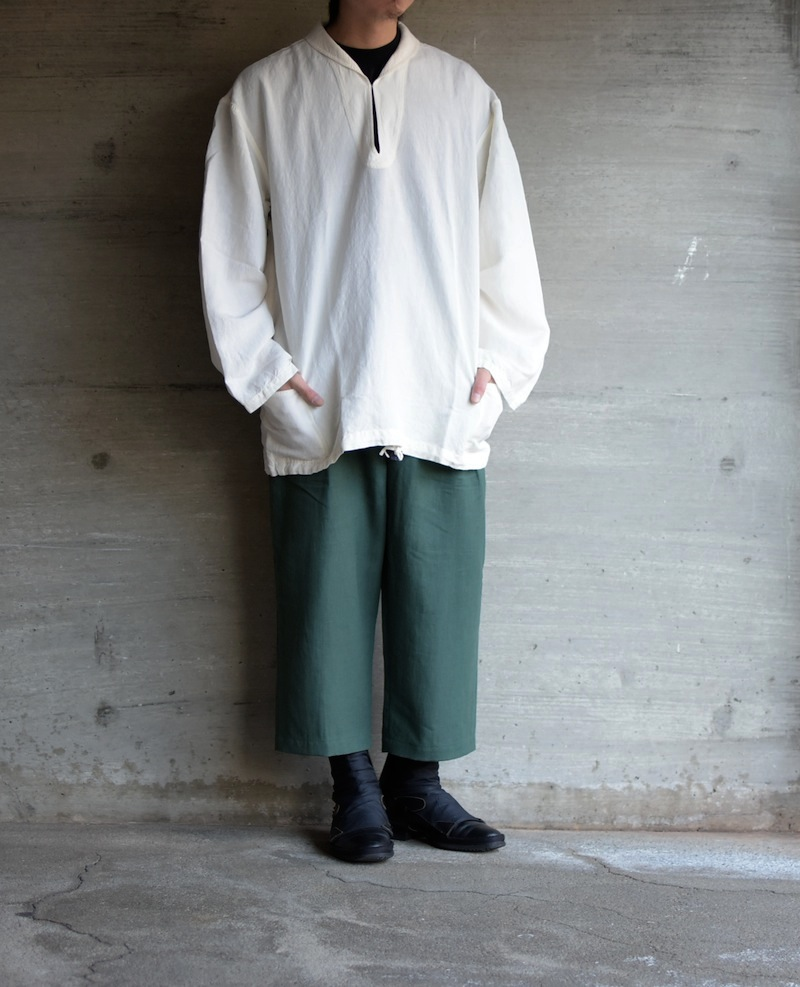 OLD JOE「SHAWL COLLAR NAVY OVER SIZE SMOCK / RAW WHITE」