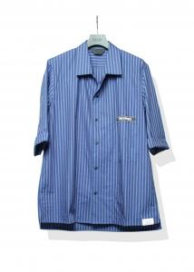 ESSAY「SH-1 : OPEN COLLAR DRESS SHIRT/ indigo stripe 」