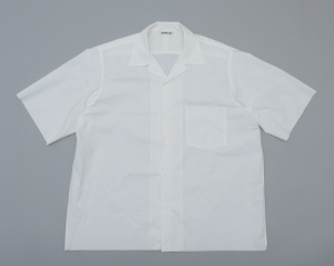 AURALEE「SELVEDGE WEATHER CLOTH OPEN COLLARED HALF SLEEVE SHIRTS  / WHITE」