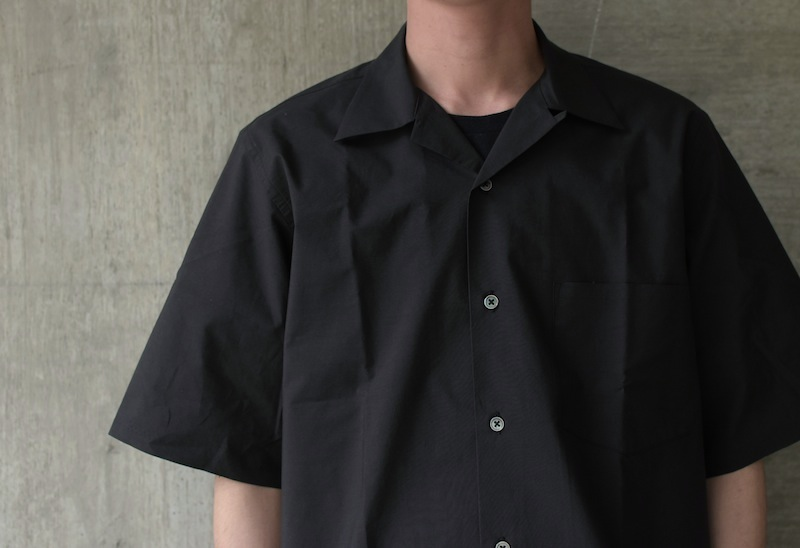 AURALEE「SELVEDGE WEATHER CLOTH OPEN COLLARED HALF SLEEVE SHIRTS  / INK BLACK」