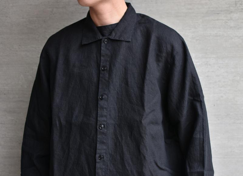 AUGUSTE-PRESENTATION PajamaLook「リネンシーツ長袖レギュラーカラーシャツ / BLACK 」
