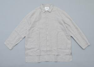 AUGUSTE-PRESENTATION PajamaLook「リネンシーツ長袖レギュラーカラーシャツ / L.GREY 」