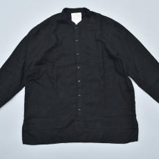 AUGUSTE-PRESENTATION PajamaLook「リネンシーツ長袖スタンドカラーシャツ / BLACK 」