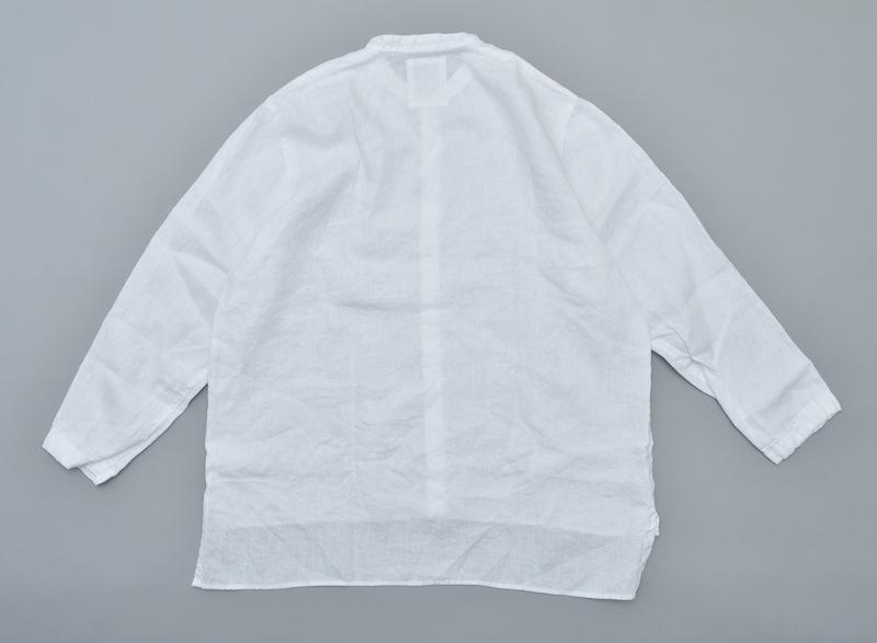 AUGUSTE-PRESENTATION PajamaLook「リネンシーツ長袖スタンドカラーシャツ / WHITE 」