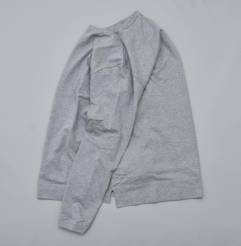 GOWN&FOUNDATION GARMENTS「長袖 ポケット  丸胴スウェッティ/ 杢GREY」