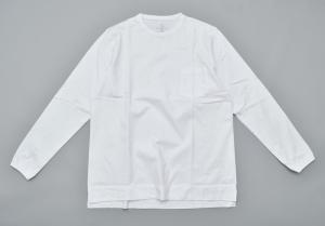 GOWN&FOUNDATION GARMENTS「長袖 ポケット  丸胴スウェッティ/ WHITE」