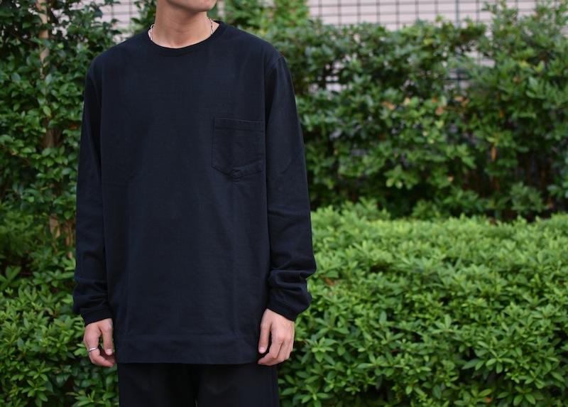 GOWN&FOUNDATION GARMENTS「長袖 ポケット  丸胴スウェッティ/ BLACK」