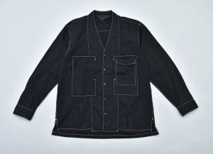ESSAY「SH-2 - COLLARLESS SHIRT / black」