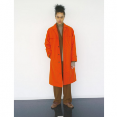 AURALEE 「 HIGH COUNT CLOTH BATTING LONG COAT / ORANGE 」