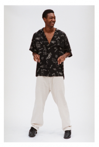gourmet jeans 「 WOOL RAYON LONG SHIRT / BLACK×L.BEIGE 」