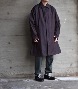 AURALEE 「 FINX SILK CHAMBRAY BIG SOUTIEN COLLAR COAT 」