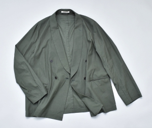 AURALEE「 WASHED FINX TWILL SHAWL COLLAR JACKET / DARK GREEN 」