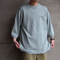 crepuscule 「Pocket Knit Tee 3/4 : Sax 」