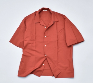 AURALEE「SELVEDGE WEATHER CLOTH OPEN COLLARED HALF SLEEVE SHIRTS / BRICK RED」
