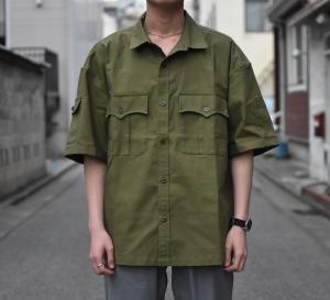 COMFORTABLE REASON 「 Panama cloth Safari shirts / OLIVE」