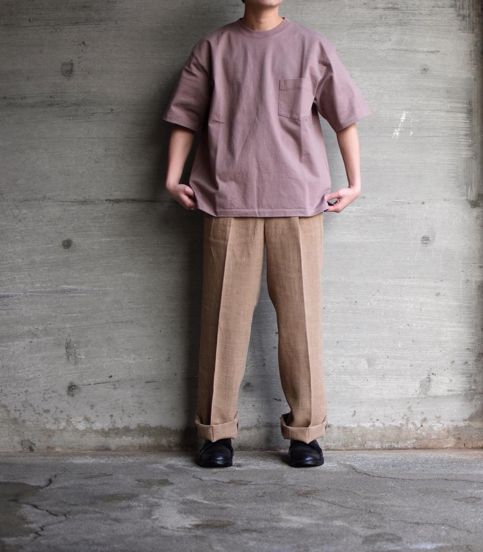 AURALEE 「 STAND-UP TEE / PURPLE BROWN 」