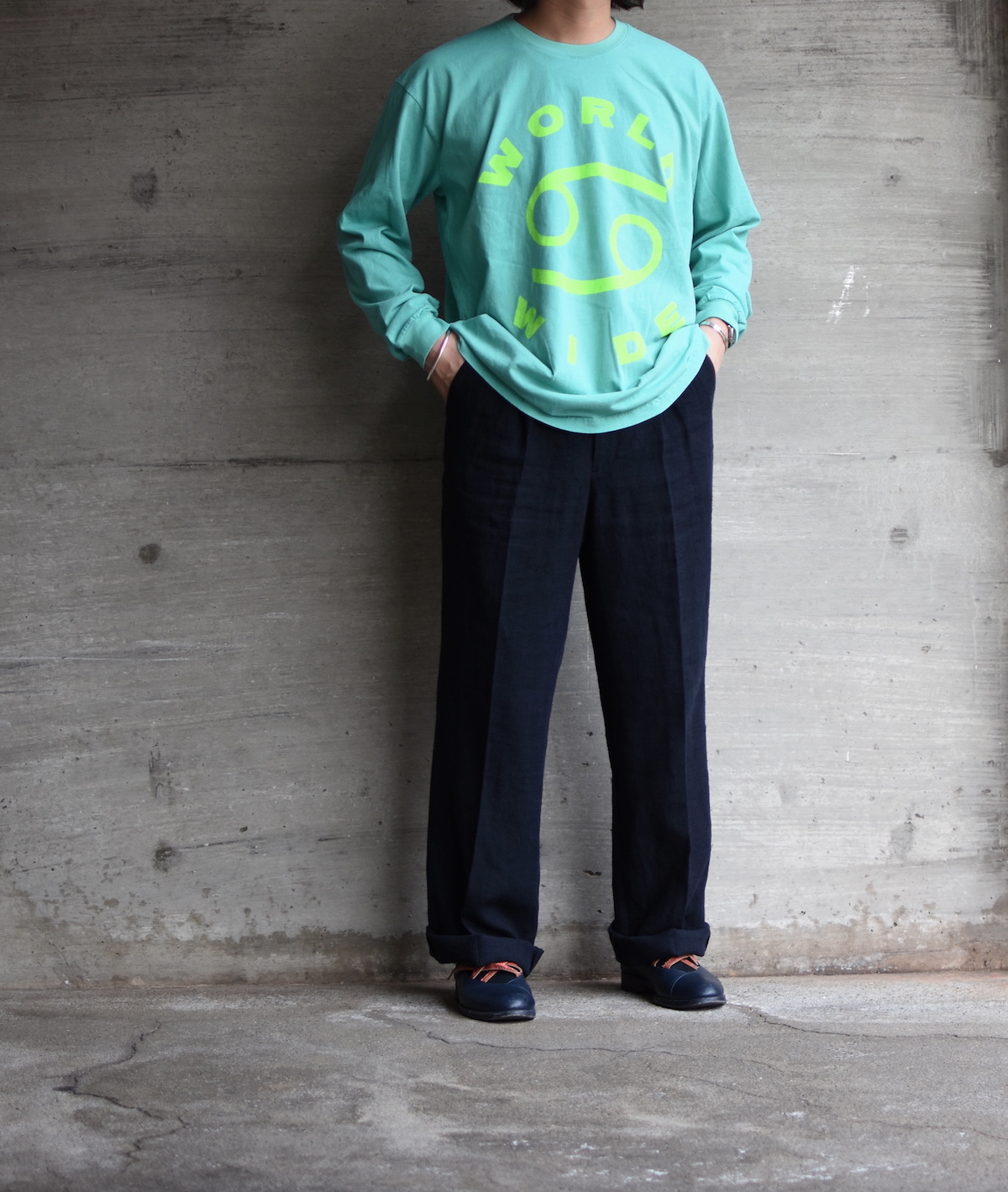 69 (SIXTY NINE) 「69 WORLD WIDE LONG SLEEVE TEE / SURGICAL GREEN/LIME GREEN INK」