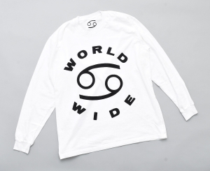69 (SIXTY NINE) 「69 WORLD WIDE LONG SLEEVE TEE / WHITE/BLACK INK」