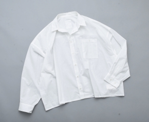 "WHOWHAT 「 ""5X SHIRT"" LONG SLEEVE / SHORT LENGTH - WHITE 」"