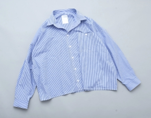 "WHOWHAT 「 ""5X SHIRT"" LONG SLEEVE / SHORT LENGTH - STRIPE(WHITE/BLUE) 」"
