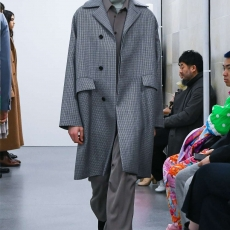 AURALEE「 DOUBLE FACE CHECK SOUTANE COLLAR COAT / LIGHT BLUE GUNCLUB CHECK 」