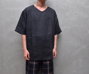 AUGUSTE-PRESENTATION PajamaLook 「 リネンシーツ半袖プルオーバー / BLACK 」