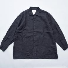 AUGUSTE-PRESENTATION PajamaLook 「 リネンシーツ長袖レギュラーカラーシャツ / BLACK 」