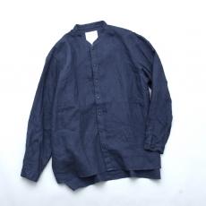 AUGUSTE-PRESENTATION PajamaLook 「 リネンシーツ長袖スタンドカラーシャツ / NAVY 」