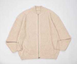 crepuscule「 rib stitch zip cardigan / Beige 」