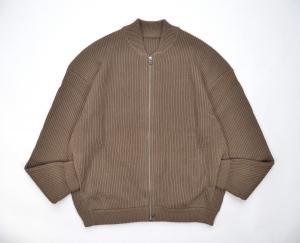 crepuscule「 rib stitch zip cardigan / Khaki 」