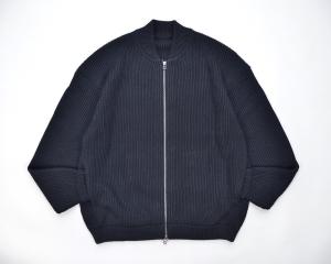 crepuscule「 rib stitch zip cardigan / Black 」