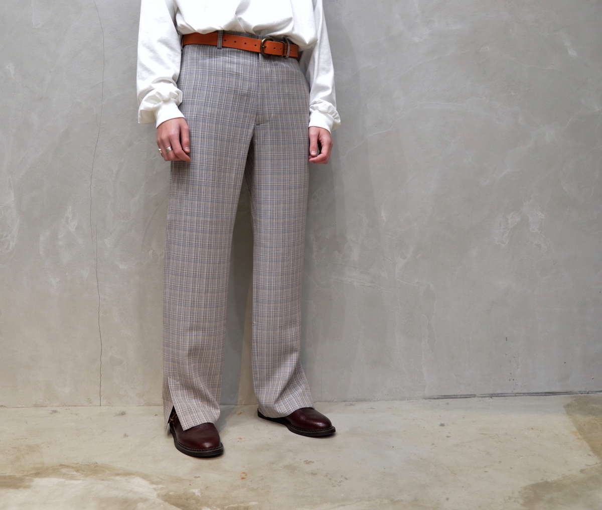 AURALEE 「 HARD TWIST WOOL DOUBLE FACE CHECK SLACKS / GRAY CHECK 」