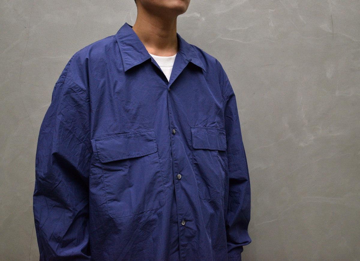 Marvine Pontiak shirt makers 「 Open Collar SH / Smoke Blue 」