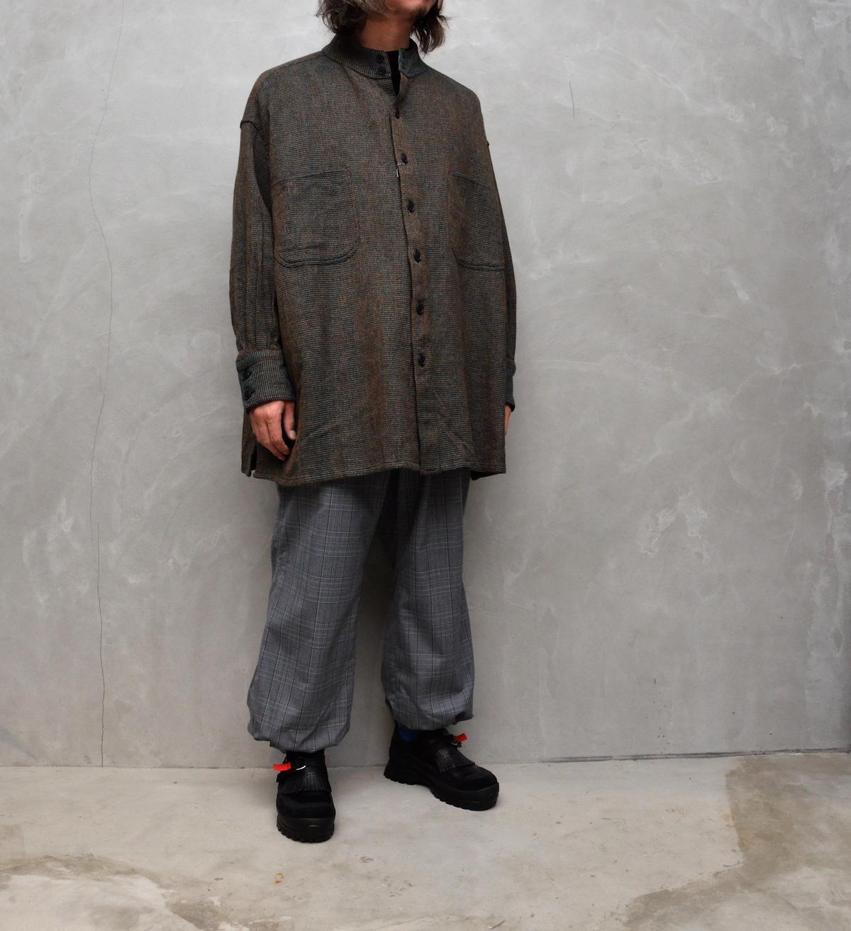 HOMELESS TAILOR 「 STAND COLLAR SHIRT / MIX GREEN 」