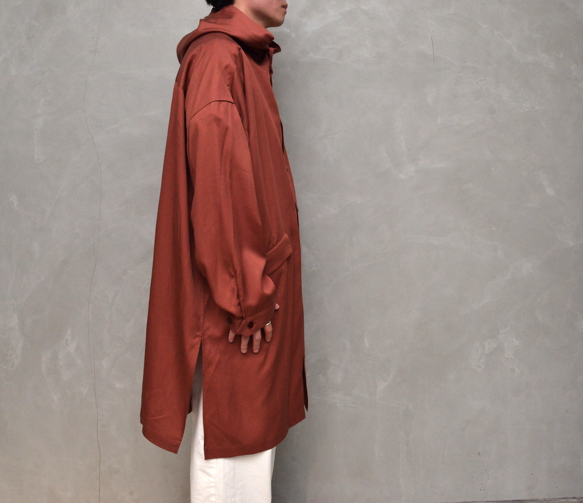 WHOWHAT 「 HOODED SHIRT COAT / BROWN 」