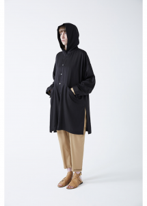 WHOWHAT 「 HOODED SHIRT COAT / BLACK 」