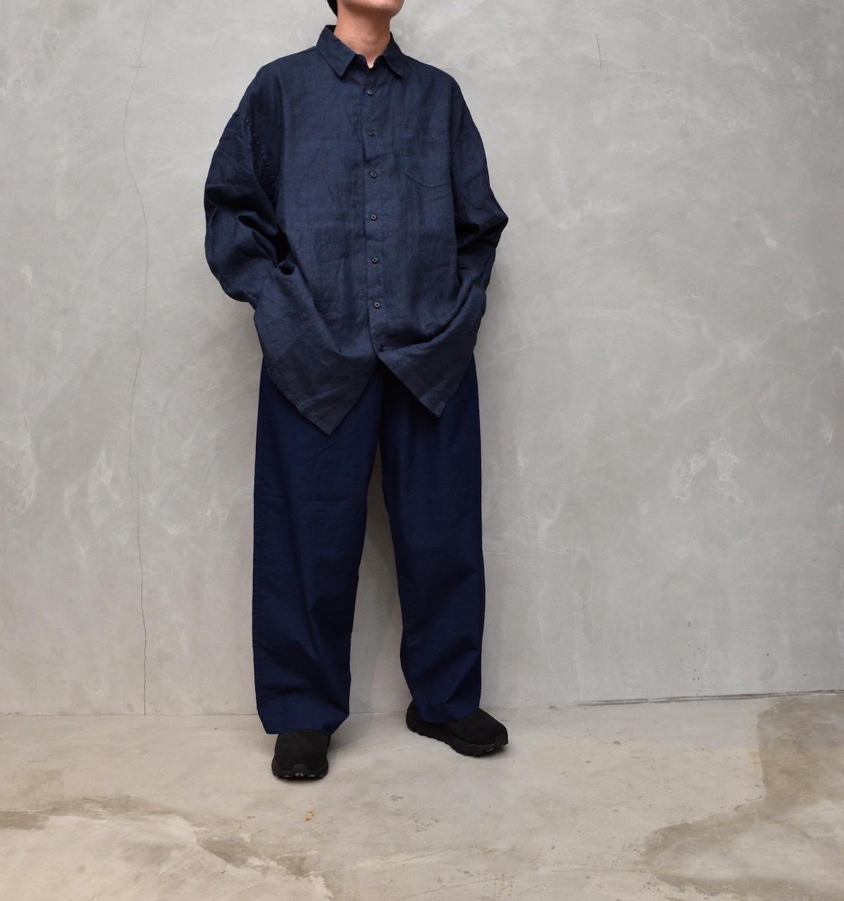 AUGUSTE-PRESENTATION PajamaLook 「 リネンセミロング丈レギュラーカラーシャツ / NAVY 」