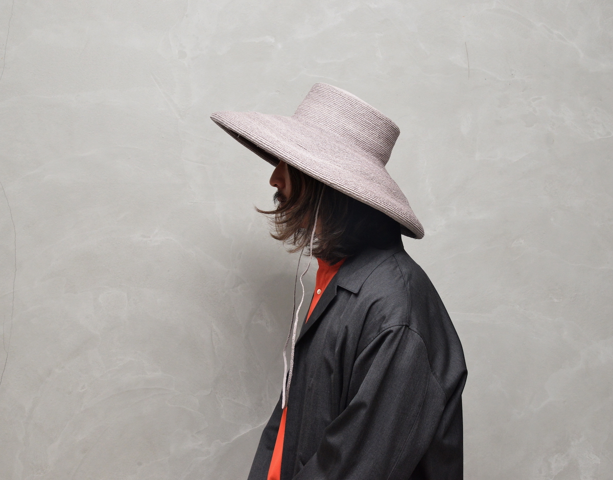 凹凸 -bocodeco- 「 Raffia Braid Roll-Up Brim Hat / LGY 」