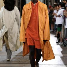 AURALEE 「 SHUTTLE GEORGETTE CLOTH P/O SHIRTS / RED ORANGE 」