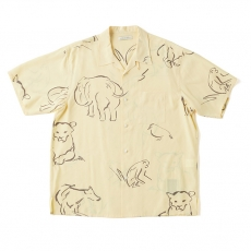 ORIGINAL PRINTED OPEN COLLAR SHIRTS (-DRAWING- short sleeve) / CITRINE