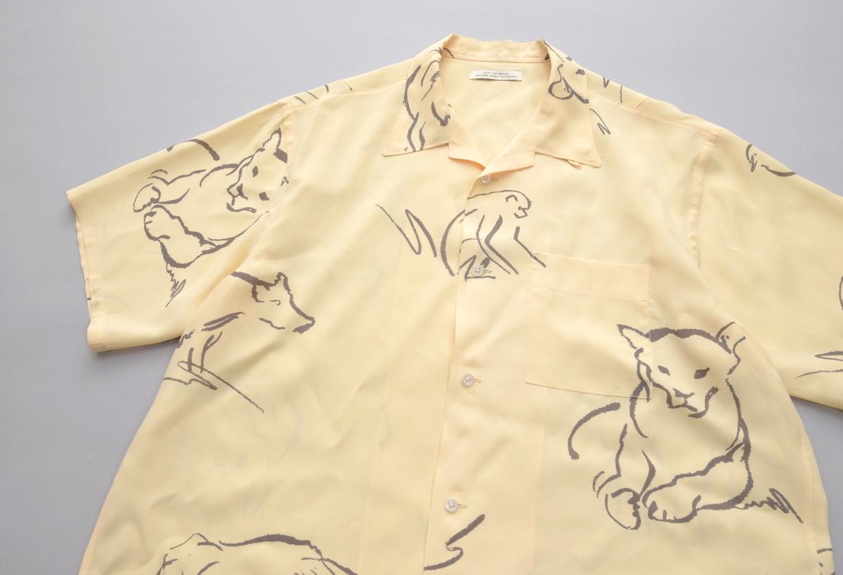 ORIGINAL PRINTED OPEN COLLAR SHIRTS (-DRAWING- short sleeve) / CITRINE