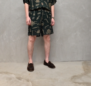 BROWN by 2-tacs「 ALOHA SHORTS / DARK GREEN 」--02