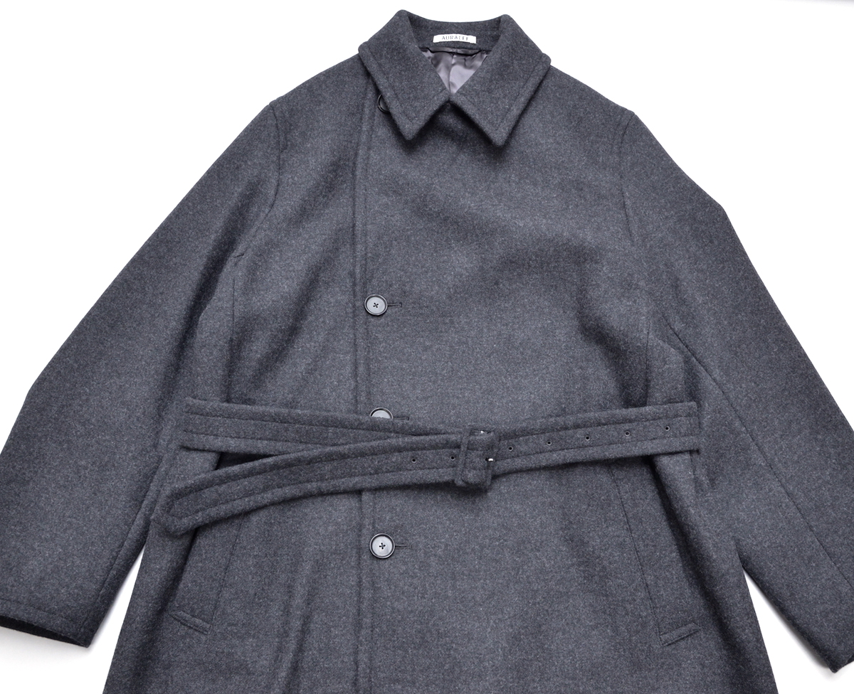 AURALEE 「 LIGHT MELTON DOUBLE-BREASTED COAT / TOP CHARCOAL 」