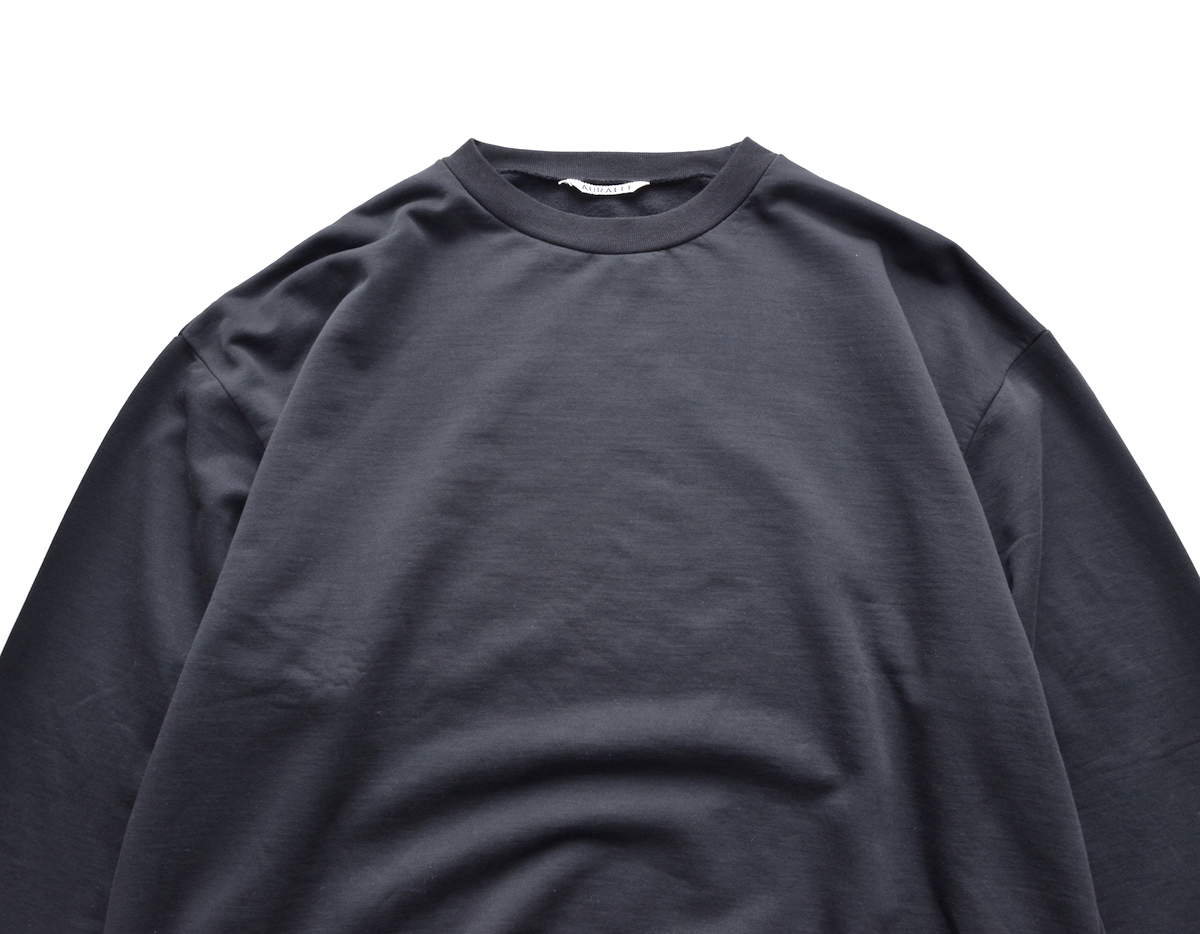 AURALEE 「 ELASTIC HIGH GAUGE SWEAT P/O - BLACK 」