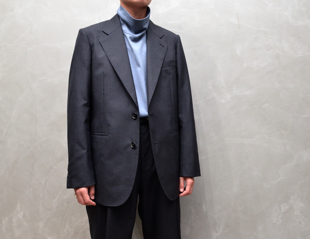 AURALEE 「 BLUE FACED WOOL JACKET -  TOP CHARCOAL 」