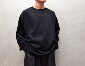 AURALEE 「 ELASTIC HIGH GAUGE SWEAT P/O - BLACK 」