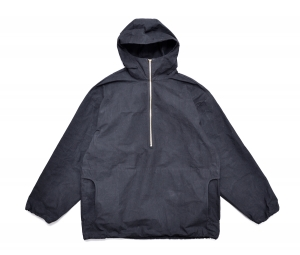 MAN-TLE 「 R9 - HOOD PULL OVER SHIRT / BLACK WAX 」